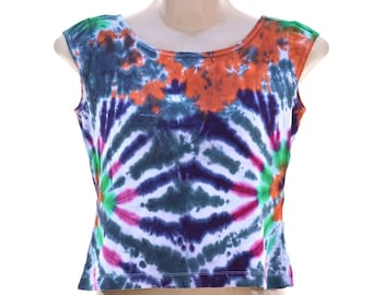 Upcycled TIe Dye Half Top, OOAK Repurposed Tank, Ladies Hippie Shirt, Recycled Trippy Clothing