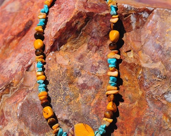 Healing Energy Necklace, Butterscotch Amber Statement Necklace, Tigers Eye Jewelry, Turquoise Mookaite, Beaded Necklace