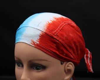 Tie Dye Doo Rag, USA Head Wrap, Pariotic Skullcap