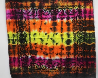 Tie Dye Bandana, Trippy handkerchief, OOAK Hippie Fashion