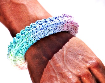 Rainbow Rope Bracelet, Synthetic Cotton Jewelry, Knot Bracelet, Tie Dye Woven Bracelet, Celtic Weaving Rope Bracelet