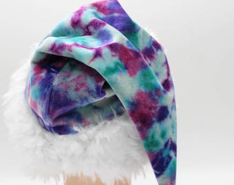Tie Dye Santa Hat Unicorn Organic Bamboo Velour Holiday Hat