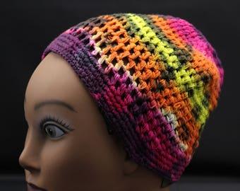Tie Dye Crochet Kufi, Trippy Beanie, Hippie woven hat