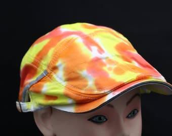 Tie Dye Flat Driving Samuel L Jackson Hat, OOAK Fire Golf Cap