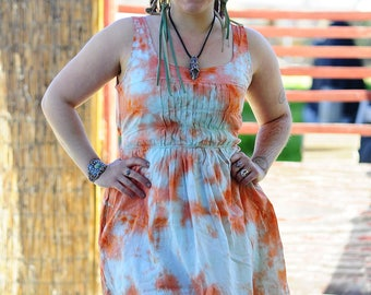 Tie Dye Upcycled Dress, Trippy Repurposed Ladies Clothes, Hippie OOAK Recycled Dress