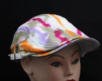 Tie Dye Flat Driving Samuel L Jackson Hat, OOAK Trippy Golf Hat