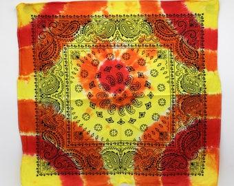 Tie Dye Bandana, Trippy Fire handkerchief, Hippie Fashion