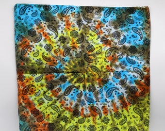 Tie Dye Bandana, Trippy Southwest Sunrise handkerchief, Hippie Fashion