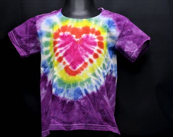 Tie Dye Kids T-Shirt, Trippy Children's Top, Cute Heart Hippie Toddler Tee