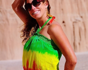 Tie Dye Shirt, Festival Crop Top, Large Rasta Shirt, Smocked Hippie Top, Jamican Clothing