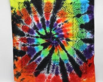 Tie Dye Bandana, Trippy Rainbow handkerchief, Psychedelic Hippie Fashion