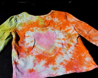 Tie Dye  Toddler Girls UpCycled 24 month Top-Long Sleeve Heart Sparkly flower Buttons Orange Hippie top 70s boho dead head kids girls