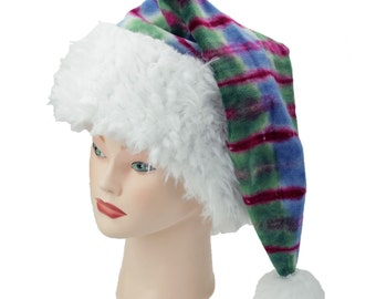 Tie Dye Santa Hat Organic Bamboo Velour Holiday Sleeping Cap