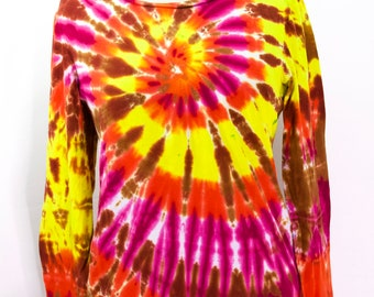 Upcycled Tie Dye Womens Long Sleeve Top