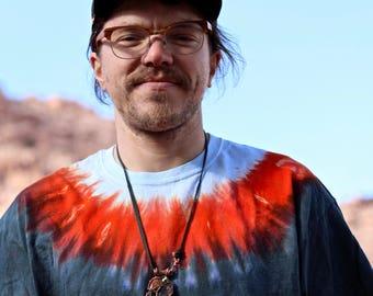 Tie Dye Mens XL T-Shirt, Trippy Crew Neck Tee, Hippie Fashion