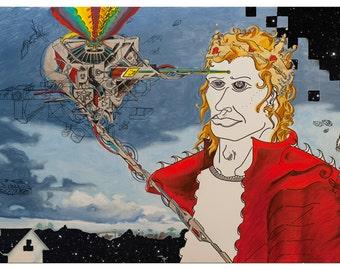 Original Art Print, Modern Art Print, Psychedelic Artwork, Sacred Geometry Painting, Graffiti Landscape