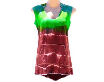 Hooded Tie Dye Tank, Organic Bamboo Fleece Top, Hippie Hooded Top, Trippy Tank with Pocket