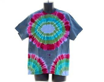 Tie Dye T-Shirt, Mens Large OOAK Tee, Trippy Hippie Shirt, Hexagram Tie Dye