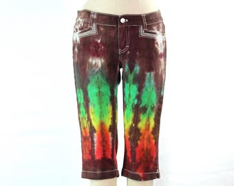 Tie Dye Upcycled Rasta Ladies Capris
