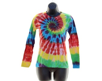 Tie Dye Long Sleeve Shirt, Womens Trippy Rainbow Top, Hippie Winter Clothes