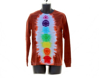 Tie Dye Long Sleeve Shirt, Trippy Mens Long Sleeve, Chakra Mens Hippie Shirt