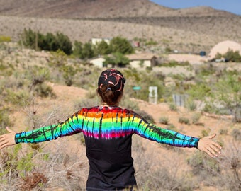 Tie Dye Long Sleeve, Psychedelic Mens Log Sleeve Shirt, Trippy Winter Top, Rainbow Clothes