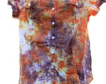 Tie Dye Medium Juniors Button Up Hippie Top