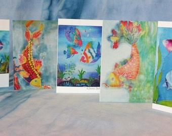 5 Pack Greeting Cards Original Batik Artwork Fish