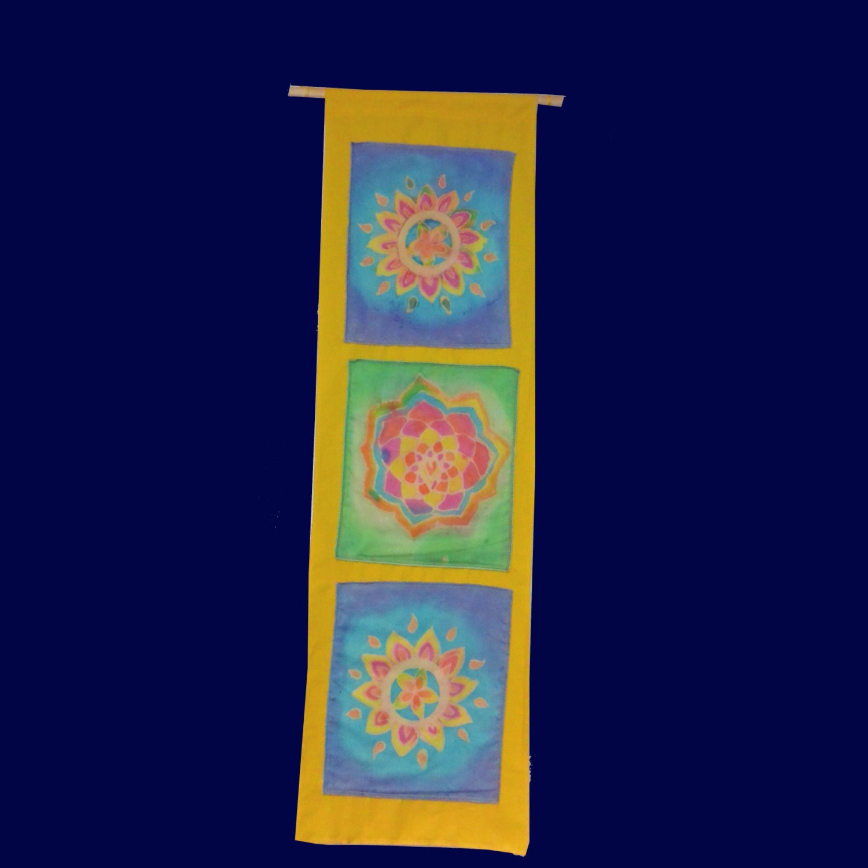 Batik Mandala Tapestry 3 Panal Flower Wall Hanging Trippy Tie Dye