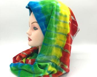 Tie Dye Infinity Scar, Organic Bamboo Velour Scarf, Trippy Rainbow Infinity Scarf, Super Soft Hippie Winter Accessories