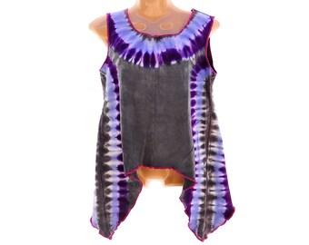 Tie Dye Flowy Tank Top, Home Sewn Trippy Top, Organic Cotton Trippy Tank, Hippie Ladies Top, Purple and Grey Organic Fiber Tunic Tank