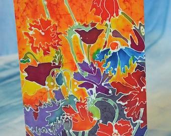 Blank Greeting Card with Original Batik Artwork Flowers Note Card