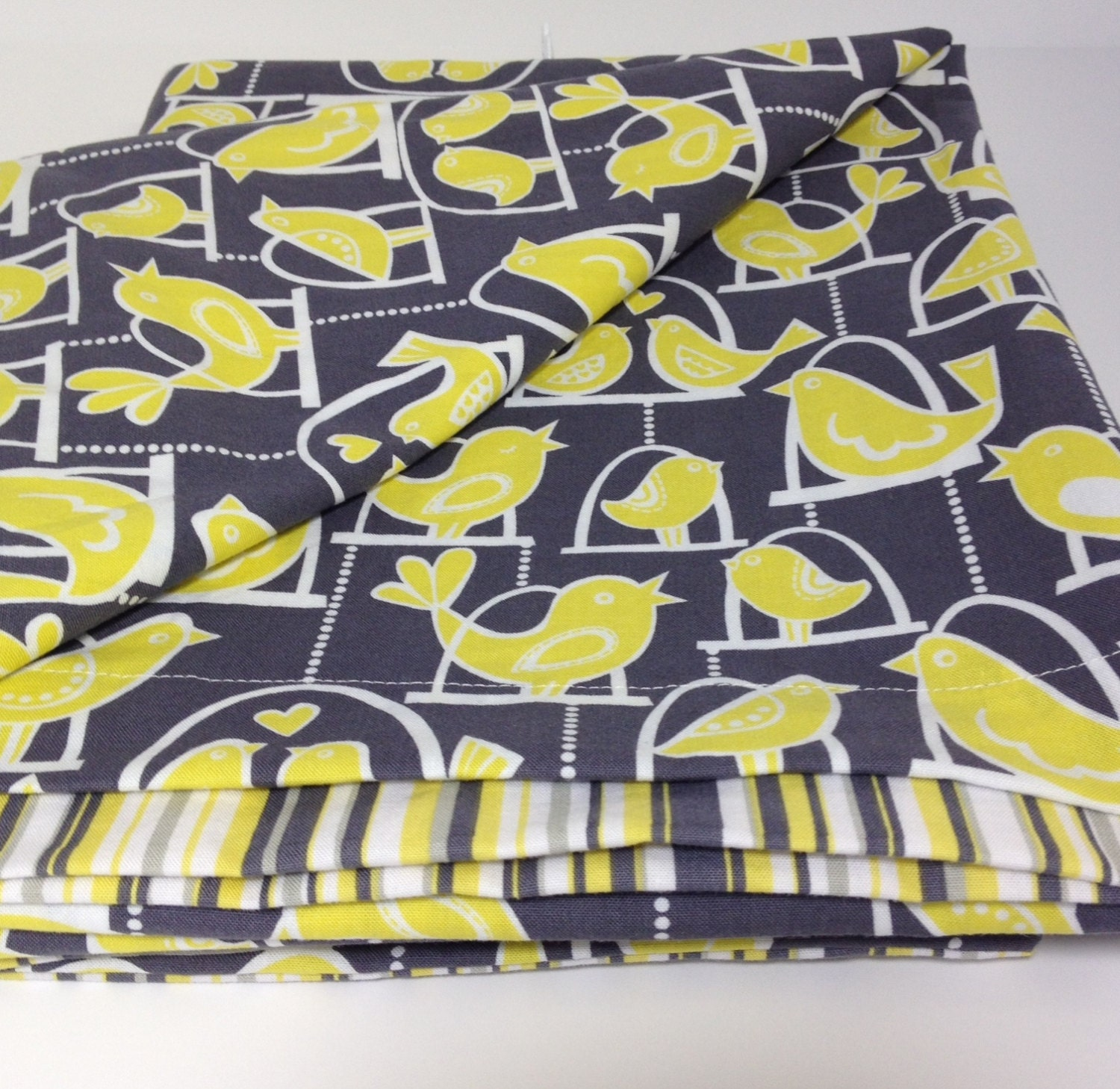 Bird Duvet Cover Crib Or Toddler Yellow And Gray Michael
