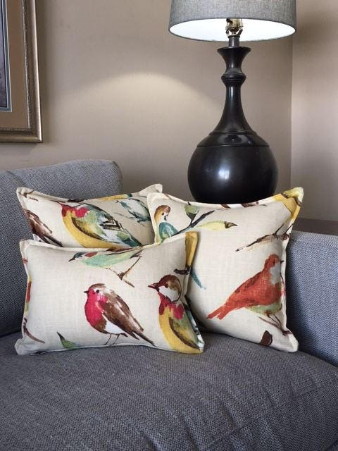 Richloom Birdwatcher Pillow Cover In Meadow Linen Or Summer With Or