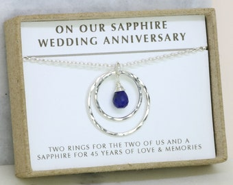 bb30be981 45th anniversary gift, 45th wedding anniversary gift, sapphire wedding  jewelry, wedding anniversary gift for her - Celeste
