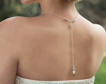Bridal back drop necklace | Pearl Backdrop Necklace | Swarovski Back Necklace | Wedding Necklace | Annika