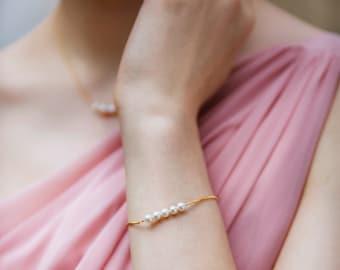 Freshwater Pearl Bridesmaid Bracelet | Delicate Pearl Bracelet | Bridesmaid Jewelry | Beth