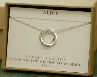 Silver bridesmaid necklace, 30th birthday gift, interlocking circles necklace, sister necklace, three silver rings necklace - Lilia