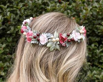 Burgundy and Blush flower crown. Burgundy Winter Crown, Blush flower crown, Burgundy headband. Winter flower crown, Burgundy and blush halo