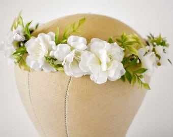 White flower crown etsy white flower crown silk floral crown full flower crown greenery floral crown bridal hair flowers bridal hair wreath bridesmaids mightylinksfo