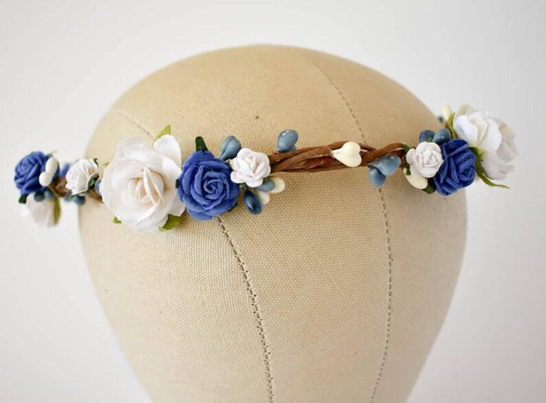 9d8bbcb68de Blue flower crown. Royal blue and white floral crown