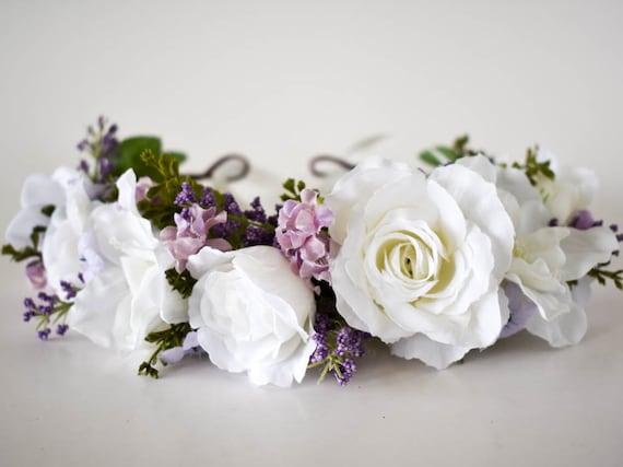 White and lavender flower crown. White wedding crown. Lavender | Etsy