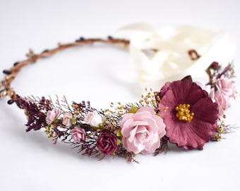 Burgundy and blush flower crown.  Burgundy, blush, and dusty rose bridal headpiece. Burgundy blush flower girl crown. Burgundy hair flowers