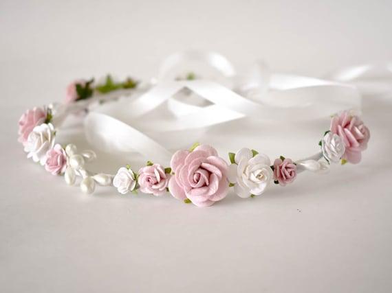 Bridal floral crown Floral wedding crown Rustic wedding Wedding flower crown Wedding flower headpiece Dusty rose flower crown