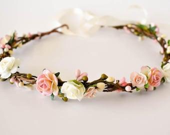 Blush flower crown.  Rustic floral crown in shades of pink, peach, and blush. Bridal headpiece. Bridesmaids wreath. Flower girls headband.