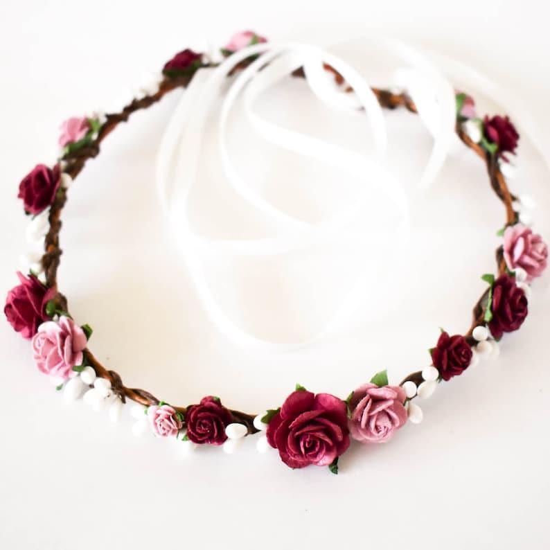 Burgundy hair flowers. Burgundy bridal headpiece Mauve flower crown Dusty Rose wedding headpiece Burgundy and Dusty Rose flower crown