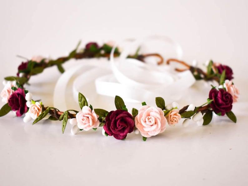 Burgundy and Blush Flower Crown. Blush flower crown. Burgundy image 0