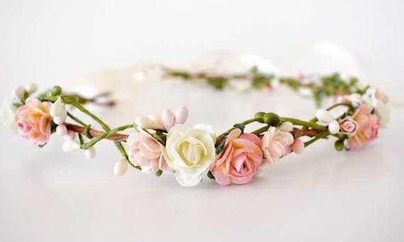Flower crown. Pink blush and cream flower crown. Wedding  9ba925d8961