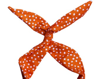 Orange and White Polka Dot Wire Headband by Byrd