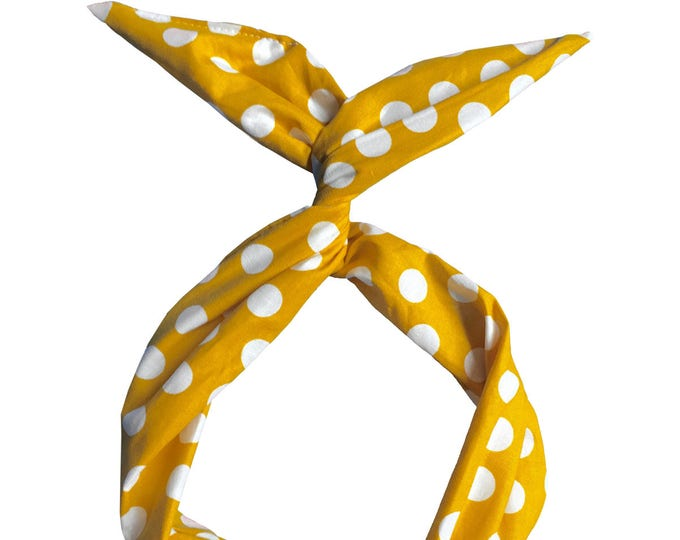 Featured listing image: Yellow and White Polka Dot Wire Headband by Byrd